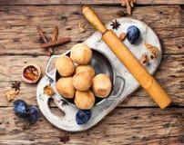 Pies with autumn plum Stock Photos