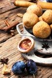 Pies with autumn plum Stock Photo