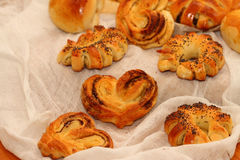 Pies. Baked yeast cakes with various fillings royalty free stock photos