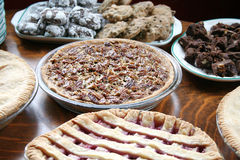 Pies and Cookies. Many pies sit on a table ready to be eaten Stock Photography