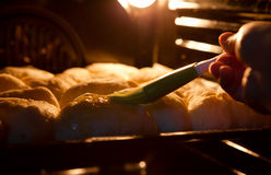 Pies cover with a mixture of egg in the oven Stock Photos