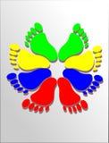 Pies de colores stock de ilustración