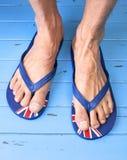 Pies de correas Flip Flops Sandals Foto de archivo libre de regalías