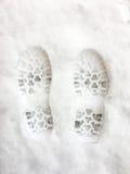 Pies de impresión en la nieve Imágenes de archivo libres de regalías