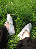 Pies de la hierba Foto de archivo libre de regalías