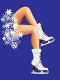 Pies de las mujeres en patines. stock de ilustración