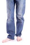 Pies de los hombres descalzos Foto de archivo libre de regalías