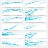 Pies de página modernos de los jefes de Swoosh del web azul de los aviadores