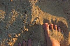 Pies de Sandy en la playa Fotos de archivo libres de regalías
