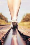 Pies del carril del ferrocarril Fotografía de archivo
