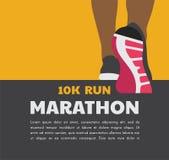 Pies del corredor del atleta que corren o que caminan en el camino plantilla corriente del cartel vector del ejemplo del primer ilustración del vector