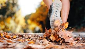 Pies del corredor del otoño