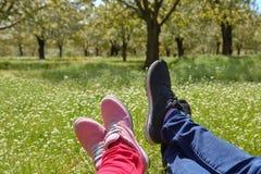 Pies en zapatos de un par en campo verde Fotografía de archivo