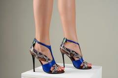 Pies femeninos hermosos en sandalias de tacón alto azules elegantes Fotos de archivo libres de regalías