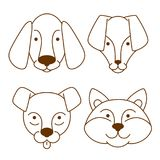 Pies głów ikony ustawiać Obraz Royalty Free