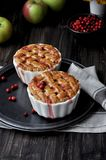 Pies with a grate of dough, in forms for baking stock image