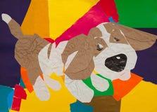 Pies hoduje baseta aplikacja papier - kreatywnie przedmiot - Zdjęcia Royalty Free