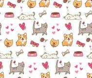 Pies i kot kawaii bezszwowy tło ilustracja wektor