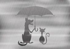 Pies i kot pod parasolem ilustracja wektor