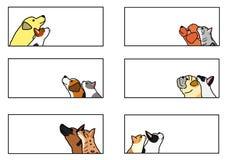Pies i kot sztandaru przyglądający up profilowy set ilustracja wektor