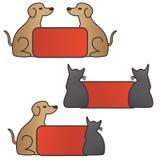 Pies i kot z sztandarem royalty ilustracja