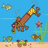 Pies i snorkel Zdjęcie Stock