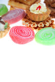 Pies, jellies and waffles Stock Images