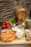 Pies, meat in aspic, dairy products. Pies, meat in aspic and organic dairy products Stock Image