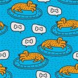 Pies na dywaników sen wzorze Domowy zwierzę domowe sen tło ilustracja wektor
