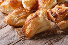 Pies of puff pastry close up horizontal Royalty Free Stock Images