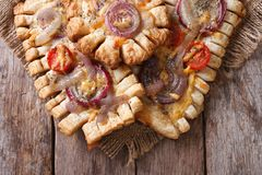 Pies with red onions and tomatoes Horizontal top view closeup Stock Images