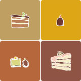 Pies and sweets. Template icons of sweet pies and sweets on four colored backdrops Royalty Free Stock Photo