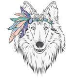 Pies w Indiańskim opatrunku z piórkami Lider plemię Wektorowa ilustracja dla kartka z pozdrowieniami, plakatów lub druków, dalej royalty ilustracja