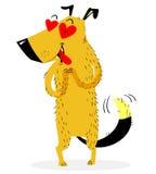 Pies w miłości Wysoki pies który zobaczył przedmiot jego adoracja ilustracja wektor