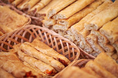 Pies on the wooden basket Stock Photo