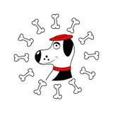 Pies z kością odosobniony wektor Obrazy Royalty Free
