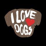 Pies z serca i literowania tekstem Kocham psy Obraz Royalty Free