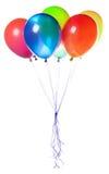 Pies z Wakacyjnym sztandarem i kolorowymi balonami Zdjęcia Royalty Free