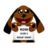 Pies z znakiem pomaga ciebie Jak mogę Duzi oczy Kawaii zwierzęcia ciało Śliczny postać z kreskówki przyjazdowa dziecka karty zaba ilustracji