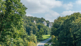 Pieskowa Skala Castle. PIESKOWA SKALA, POLAND - SEP 03, 2016: Entering the ruins of the castle can be seen from a distance already Ojcowa located on a high rock Royalty Free Stock Image