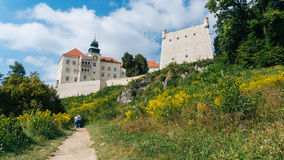 Pieskowa Skala Castle. PIESKOWA SKALA, POLAND - SEP 03, 2016: Entering the ruins of the castle can be seen from a distance already Ojcowa located on a high rock Stock Image