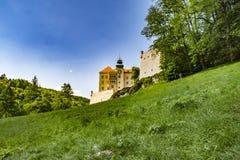 Historic castle Pieskowa Skala by the Pradnik river in the Ojcowski National Park stock photography