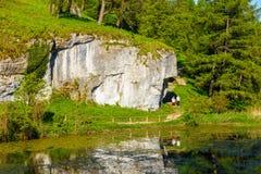 Limestone rock called Bludgeon of Hercules near Castle Pieskowa Skala, Krakow, Poland Royalty Free Stock Photo