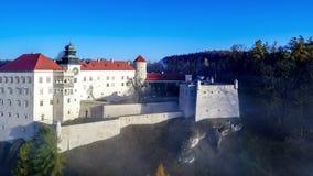 Pieskowa Skala slott på klippan nära Krakow, Polen, i morgondimma arkivfilmer