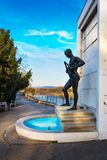 PIESTANY, SLOVAKIA – NOVEMBER 7 2017: Fountain with statue of stock photo
