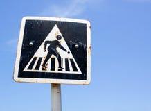 Pieszy krzyża znak zdjęcie royalty free