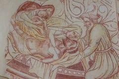 PietÃ, de Klaagzang van Christus, een oude gotische fresko stock foto's