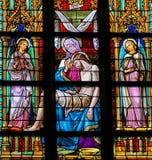 Pieta - finestra di vetro macchiato in Den Bosch Cathedral, Braba del nord fotografie stock libere da diritti