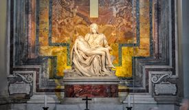 The Pieta Mother Mary and Jesus Christ sculpture in St. Peter`s Basilica by Michelangelo royalty free stock photos