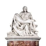 The Pieta sculpture by Michelangelo isolated on white background. The Pieta, a work of Renaissance sculpture by Michelangelo Buonarroti isolated on white royalty free stock photos